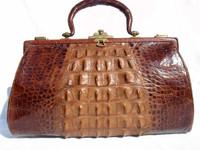 HUGE Early 1900's Brown Edwardian Hornback Alligator Handbag