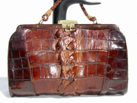 Fabulous Chocolate Brown 1940's-50's Alligator Tail Skin Purse