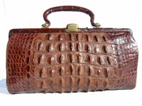 Early 1900's Antique Edwardian HORNBACK Alligator Skin Handbag