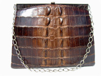 1930's-40's HORNBACK Alligator TAIL Skin Shoulder Bag