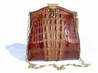 Early 1900's Petite EDWARDIAN Hornback ALLIGATOR Shoulder Bag