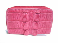 New! PINK Hornback CROCODILE Tail Skin KEY CASE & Change Purse