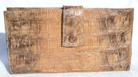 Ladies XL NATURAL Tan Crocodile Skin Checkbook Wallet - New!