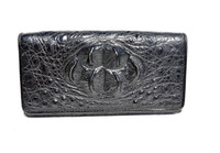Large 1990's-2000's BLACK Hornback CROCODILE Skin CLUTCH Wallet