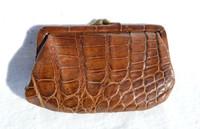 1940's-50's Chocolate Brown Alligator Skin Change Purse G1A-234