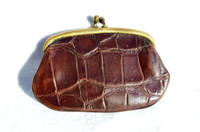 1940's-50's Chocolate Brown Alligator Skin Change Purse G1A-231