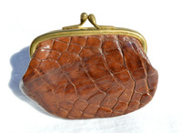 1940's-50's Chocolate Brown Alligator Skin Change Purse G1A-230