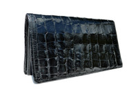 Unisex 1980's-90's Long Black ALLIGATOR Belly Skin Jacket Purse Checkbook Wallet