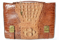 XL 1960's Men's Hornback CROCODILE BRIEFCASE Satchel Bag - with KEYS!