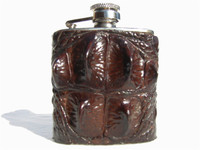Custom HORNBACK Crocodile Skin 2.5 Oz. Stainless WHISKEY Hip FLASK