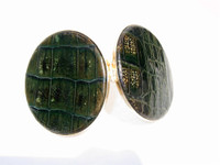 1940's-50's GREEN Alligator Skin Compact Case -ARGENTINA!