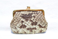 Lovely 1950's-60's PYTHON Snake Skin Change Purse