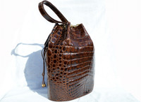 XXL 14 x 13 1990's Chocolate Brown CROCODILE BELLY Skin Drawstring SHOULDER Bag Bucket Tote - Jacques Saint Just
