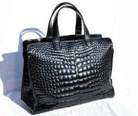 "XXL 15"" x 11"" LANA MARKS Jet Black Alligator Belly Skin Handbag Shoulder Bag TOTE - ITALY"
