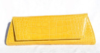 NEW 2000's YELLOW Alligator Belly Skin CLUTCH Shoulder Bag - LAI!