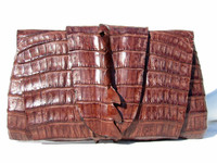 New! ROCKSTAR Tobacco Hornback CROCODILE TAIL Wrap CLUTCH Shoulder Bag