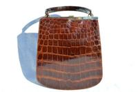 Lovely DOFAN 1950's-60's Chocolate Brown ALLIGATOR Belly Skin Handbag