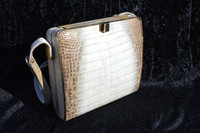WHITE & TAN 1980's-90's CROCODILE Belly Skin Shoulder Bag