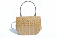 Lord & Taylor TAN / Lt. SAGE 1960's Crocodile Skin Handbag - FRANCE - Secret Clasp!