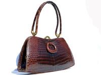 1950's-60's GOUT de PARIS Chocolate Brown Crocodile Belly Skin Handbag