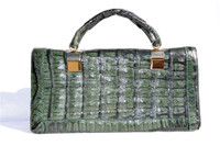 Lovely Dark GREEN 1980's Crocodile Skin Handbag Shoulder Bag