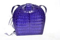 MAXIMA Purple Crocodile Skin CROSS BODY Shoulder Bag - ITALY - Tags!