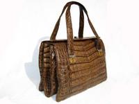 1980's-90's COCOA CROCODILE Belly Skin SATCHEL Handbag- MODELL ROYAL