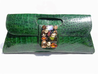 NEW Custom Jeweled GREEN CROCODILE Skin CLUTCH Bag
