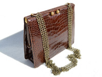LUCILLE de PARIS 1950's-60's Chocolate Alligator CROSS BODY Shoulder Bag