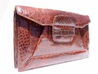 "Lovely 13"" 1940's Brown CROCODILE Skin Clutch Bag - ARGENTINA"