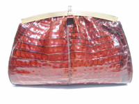 DARK COGNAC 1990's Crocodile Skin CROSS Body Shoulder Bag CLUTCH