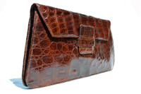 "Ample 13.5"" 1940's-50's Brown ALLIGATOR Skin Clutch Bag - ARGENTINA"