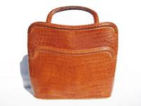 Lovely 1940's-50's BURNT ORANGE Crocodile Belly Skin Handbag - ARGENTINA