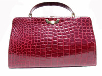 "XL 15"" Classic 1960's CRANBERRY Red Spritzer & Fuhrman CROCODILE Belly Handbag - GRIMALDI"
