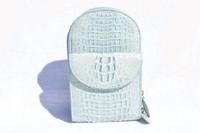 Eileen Kramer 1990's Baby Blue Hornback CROCODILE Crossbody Bag