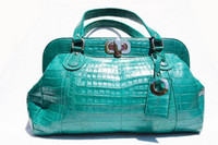 XXL Early 2000's DARK TURQUOISE GREEN Crocodile Belly Skin Handbag Shoulder Bag
