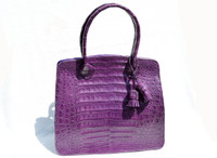 Gorgeous Early 2000's PURPLE CROCODILE Belly Skin Handbag - DIEGO ROCHA