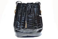 Stunning BLACK 1980's-1990's CROCODILE Belly Skin Drawstring Shoulder Bag  Tote
