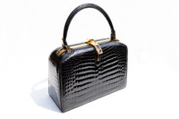 Extremely RARE 1950's-60's Jet Black LOUISE FONTAINE Crocodile POROSUS Bag