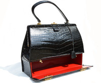Rare 1950'-60's BLACK Alligator Belly Skin SAC MALLETTE Handbag