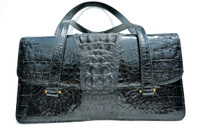 "1980's-90's XL 14"" Jet BLACK Hornback Crocodile Skin Shoulder Bag"
