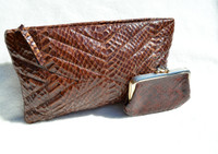 1960's-70's Brown Quilted COBRA Snake Skin CLUTCH Bag w/Change Purse