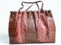 Pink GUCCI 1970's-80's Karung Snake Skin Shoulder Bag