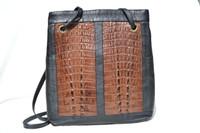Black & Brown COLOR BLOCK 1990's Double Hornback CROCODILE Tail Skin & Leather SHOULDER Bag Tote