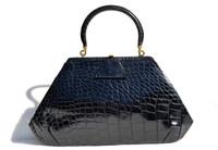 Unique 1950's-60's Jet BLACK Alligator Belly Skin Handbag