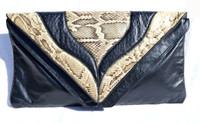 """XL 16"""" 1980's PYTHON Snake Skin & Black Leather CLUTCH Shoulder Bag"""