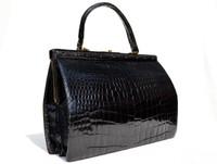 """XL 13"""" x 10"""" 1960's Jet Black ALLIGATOR Belly Skin Handbag SATCHEL Bag"""