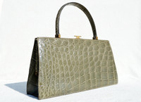 """SAGE GREEEN 13"""" 1960's CROCODILE Handbag - Bloomingdales - FRANCE"""