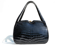 Unique 1950's-60's Jet Black CROCODILE Belly Skin Handbag