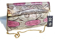 New! Pink, Gray & Cream 1970's PYTHON Snake Skin CLUTCH Bag - SUPREME